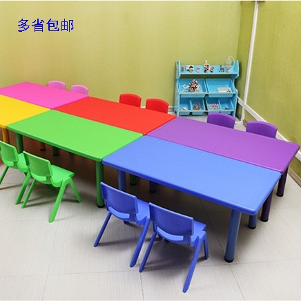 Kindergarten table, children study table, rectangular plastic table, 2-8 year old children, desk and chair, mail