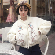 The spring and Autumn New Korean all-match loose Lantern Sleeve short embroidered woolen coat woolen coat BF wind female students