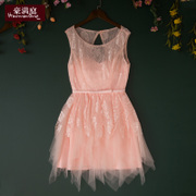 Ho Ting pink Bridesmaid Dress Korean summer new large size thin lady show shoulders short dresses