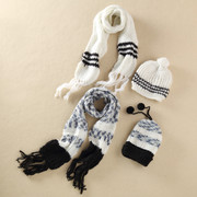 Korean retro jacquard striped knit cotton wool scarf fringed milk lovely ball hat two piece 0.2