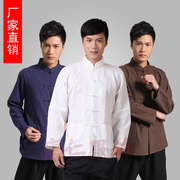 Chinese wind Man Costume cotton long sleeved shirt and denim shirt Chinese old men clothes lay clothes