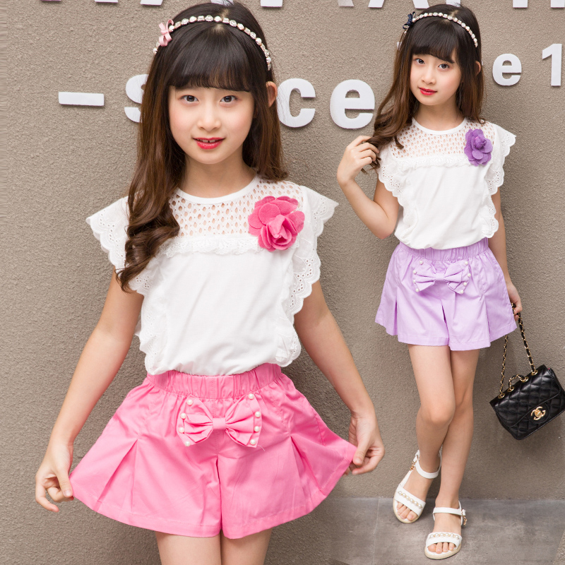 Korean fashion girls summer suit 2-3 four 4 five 5 six 6 eight 8 nine 90 10 year old girl short sleeved two piece