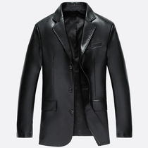 Leather slim coat male midlife leisure suit long jacket suit