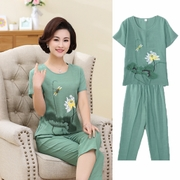 Summer in the elderly women's cotton short sleeved two piece set loose size mother dress coat summer prints