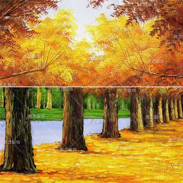 手绘风景油画黄金大道客厅装饰画有框画卧室玄关挂画横幅黄金满地