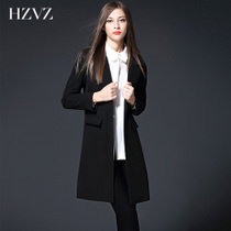 2017 spring new professional size slim slimming casual UK small suits female coat long trench coat