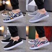 Shoes men's shoes bean cotton casual shoes plus velvet canvas shoes a pedal lazy shoes old Beijing cloth shoes autumn and winter