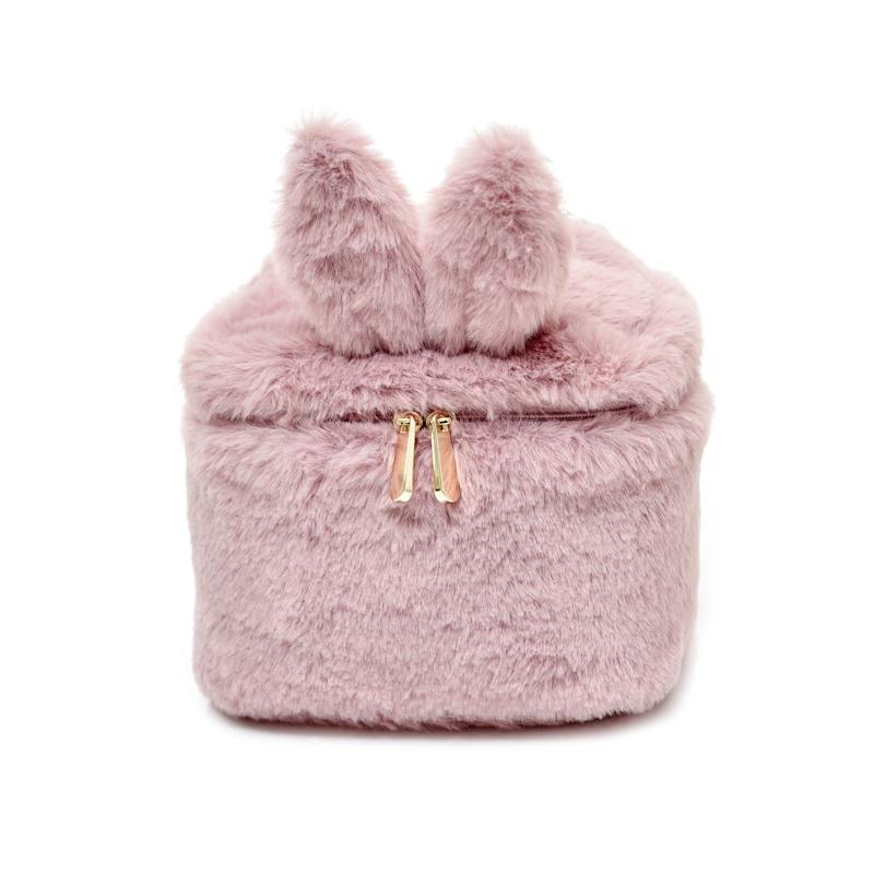秋冬甜美可爱粉嫩小兔子小猫纯色柔软温暖毛绒立体桶式方形化妆包
