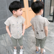 The boy set 2017 new baby crothet Korean children cotton short sleeved summer two 3-5 years of age in summer