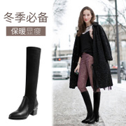 2017, autumn and winter new style with cashmere, leather, pointed with heel, short boots, women's high boots, stretch cloth, women's shoes, women's Boots