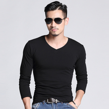 Mens Long Sleeve T-shirt V collar tight black and white cotton T-shirt shirt in winter autumn clothes on clothes a bottoming shirt male