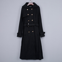 In spring and autumn the new Korean version of the slim solid color wool coats women wear long loose thick woolen cloth belt coat women