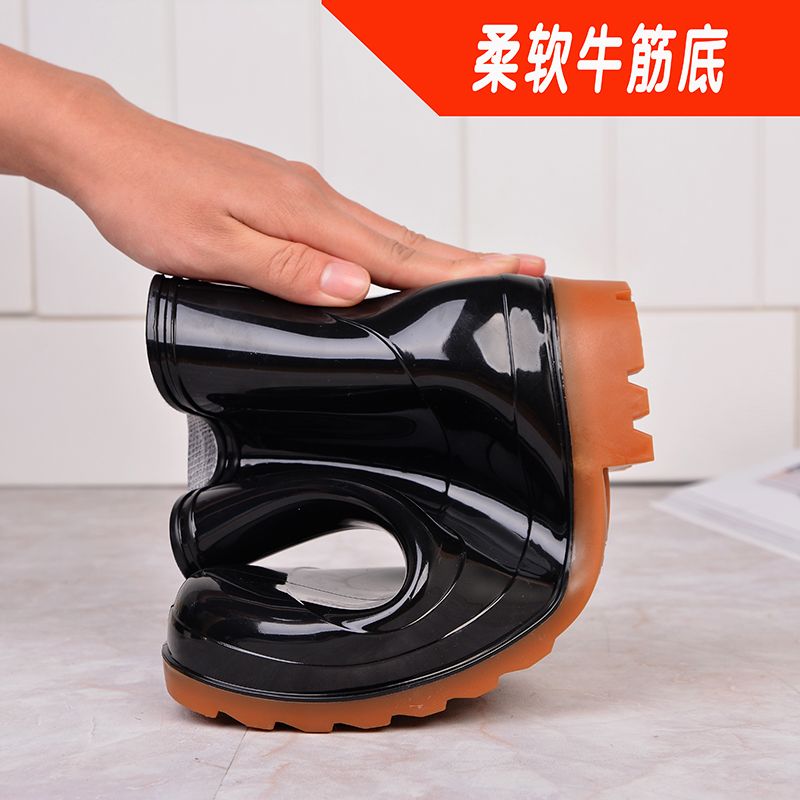 The summer male chefs work shoes slip water shoes waterproof shoes tendon end adult men and women boots low barreled boots