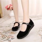 Old Beijing cloth shoes, women's shoes, flat shoes, casual shoes, women's black soft bottom dance shoes, mother shoes, anti-skid