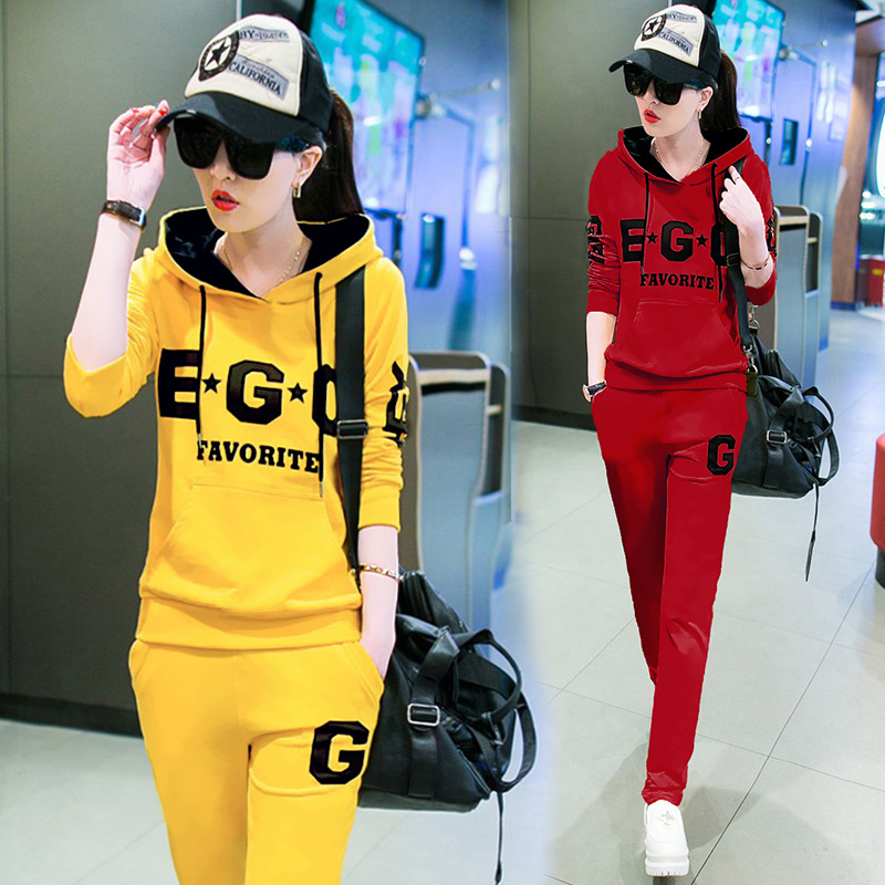 Korean autumn 2015 new leisure sport suit size ladies ' fashion guard length sleeve two piece boom