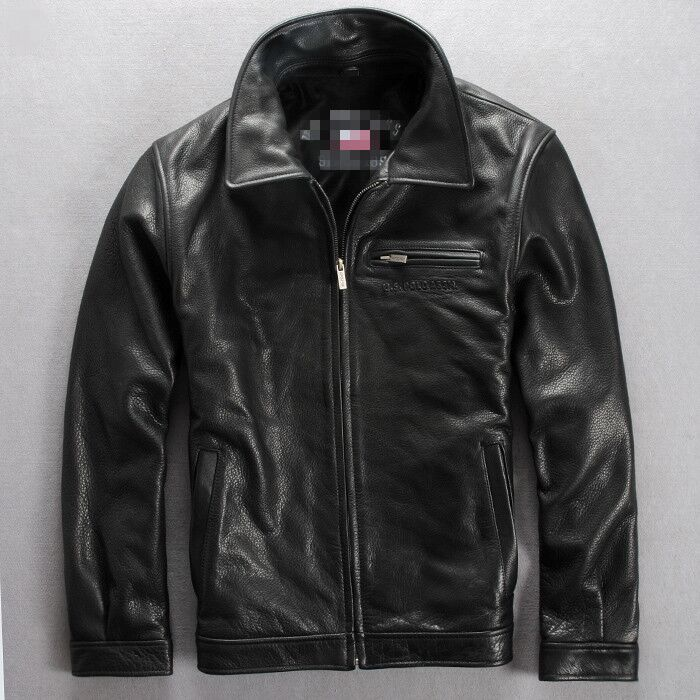 2016 new imported head layer cowhide material, men's Lapel leisure short leather leather coat, business jacket jacket