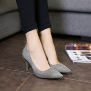 Spring heeled shoes shoes with Korean fine pointed shallow mouth sexy shoes wedding shoes suede shoes shoes occupation