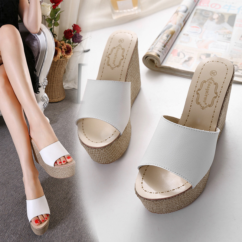 Han edition 2017 new summer hate day high thick bottom wedges women sandals 15 cm high word cool slippers with sponge