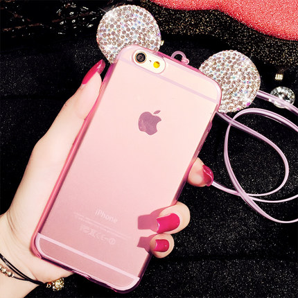 Cute cartoon mickey ShanZuan iphone6s plus silicone following + hang rope apple 6 cases 5 s