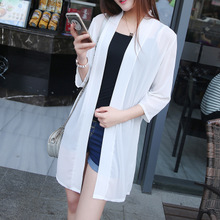 2017 new summer clothes sunscreen female Korean seven Sleeve Chiffon cardigan thin long section of loose coat Cape Code
