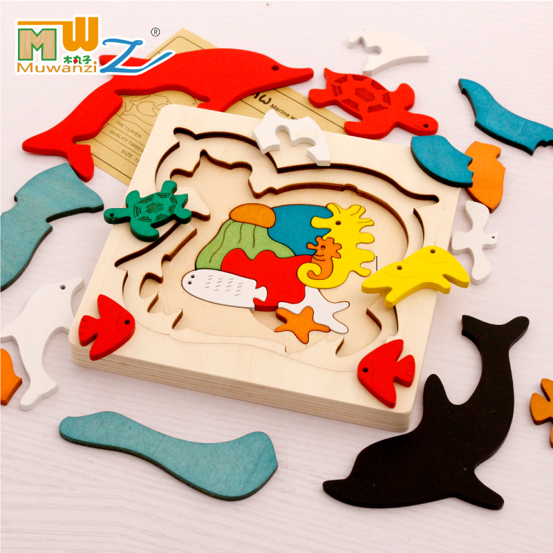包邮木丸子儿童玩具多层拼图早教益智木质3D立体拼板动物3-5-6岁