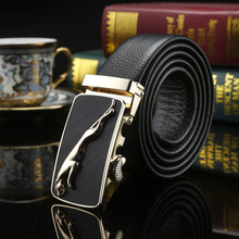 Jaguar men belt middle-aged business casual high-grade soft leather automatic leather belt buckle male