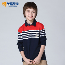 2017 late spring new style boys  shirt stripes lapel POLO shirts boys long sleeve cotton children t shirts