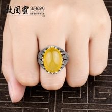 925 pure silver retro atmosphere for male and female opening ring holders Inlaid Turquoise southern Red Amber beeswax 13*18