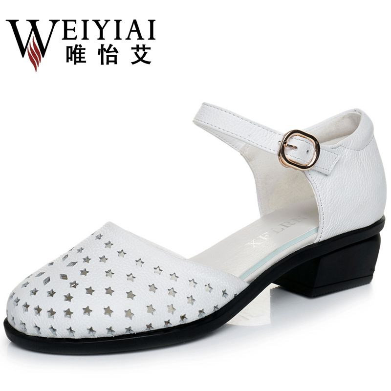 With hollow sheet leather shoes hollow out sandals in the summer of female baotou thick with Rome 41-43 yards hole hole shoes for women's shoes
