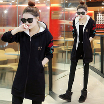 Hooded cardigan sweater for fall winter female Korean student flashes code is loose and cashmere thick long baseball coat