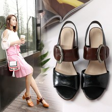Small size shoes 313233 Korean summer sandals with coarse female leisure shoes with Velcro code 41-44