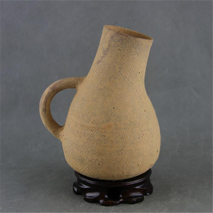 The Han Dynasty pottery all hand-made plaid pot folk collection Ancient pottery collection Antique imitation unearthed