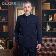 Male elderly spring tunic suit code old elderly thin coat Zhongshan Fu father father.