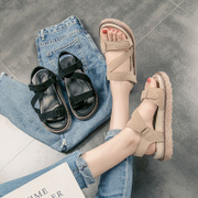 2017 summer new Korean flat sandals shoes soled Rome Velcro shoes all-match students