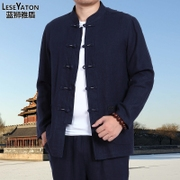 The old Chinese long sleeved shirt size coat leisure father put Hanfu in spring and autumn, male costume suit in linen