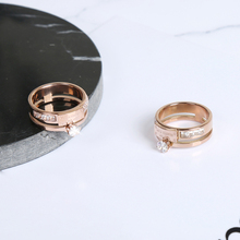Korean fashion boutique titanium food ring female South Korea trendsetter rose gold with zircon jewelry ring