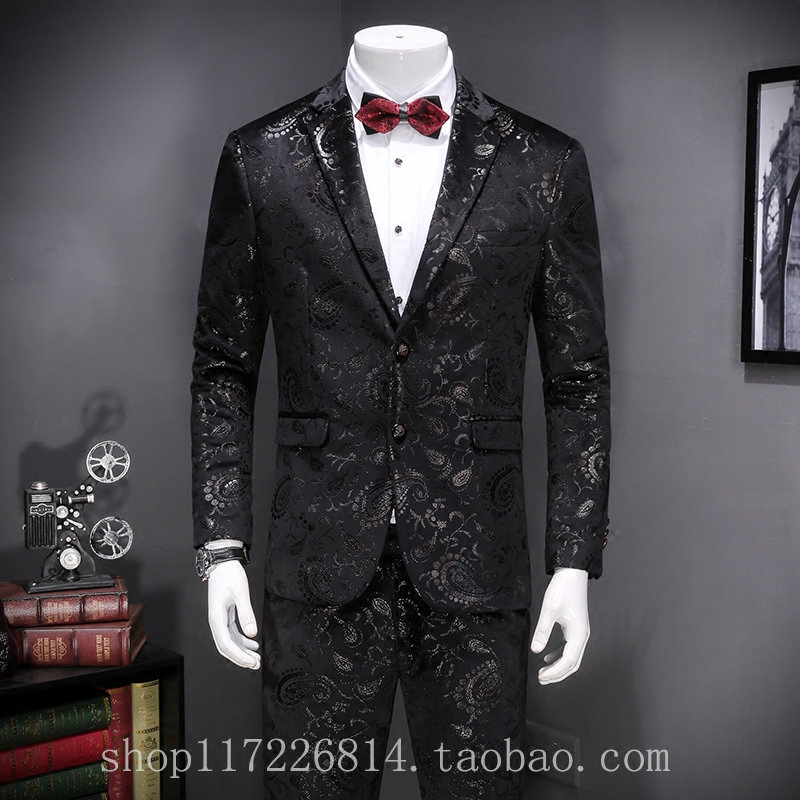 European station men's Korean style slim and casual suit, British character print suit, men's new black coat tide