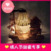 Wooden boat lamp creative personality home novelties bedroom décor ornaments and crafts