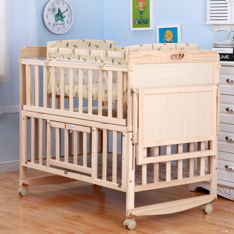 Solid wood paint free baby bed, BB bed, newborn bed, multifunctional bed for children, cradle bed, mosquito screen, baby bed