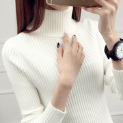 New winter short female Turtleneck Shirt sleeved turtleneck sweaters tight white women slim thickening