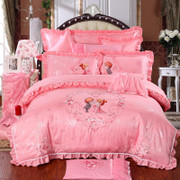 Cartoon flower embroidery four piece wedding wedding Wedding Lace Satin quilt bed cover 1.8m2.0m bed
