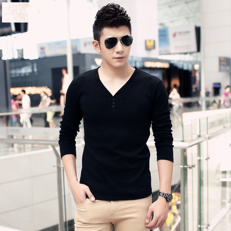 Hongkong's 2015 major suit purchasing in autumn and winter new long sleeved T-shirt slim V collar men's tight with thick velvet