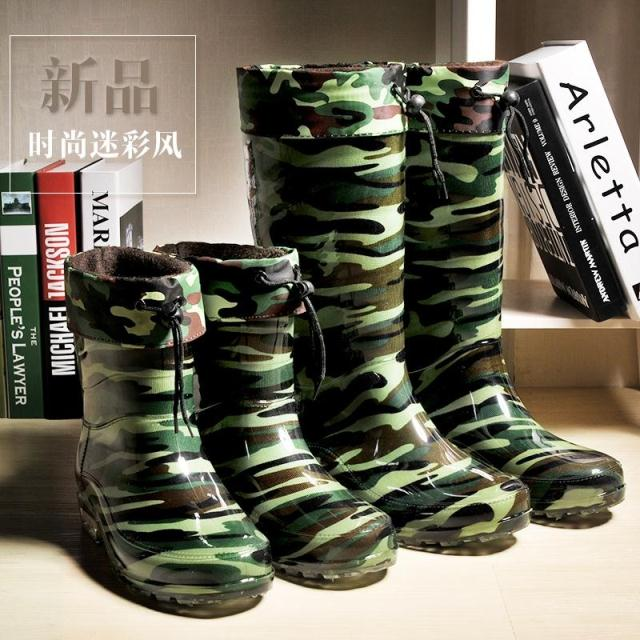 Summer Rain Boots Men waterproof boots high short tube shoes camouflage shoes plus cotton fashion wear non slip shoes water.
