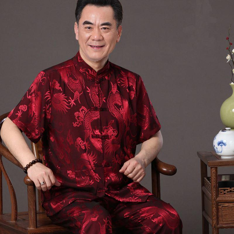 The elderly male costume summer short suit Chinese national dress Pankou China wind silk shirt tai chi clothing