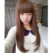 Wig female long straight hair inside the long curly curly hair wig sets of real Korean pear head Qi Liu long hair