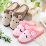 Winter cotton slippers with the home with the floor of the floor with the floor of the anti - skid thick winter couples home cotton drag male