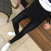 Tight jeans male social trend of Korean all-match slim thin guy social spirit pants autumn tide