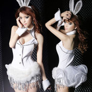 New sexy white Bunny Bunny Costume uniforms temptations night DS dance costume Leotard