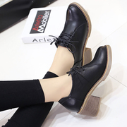 The British school wind band female leather shoes retro Dichotomanthes end coarse shoes new shoes Asakuchi Korean documentary in spring and Autumn
