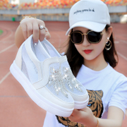 Le fu shoes spring thick soled shoes in a lazy diamond breathable shoes casual shoes white cake.